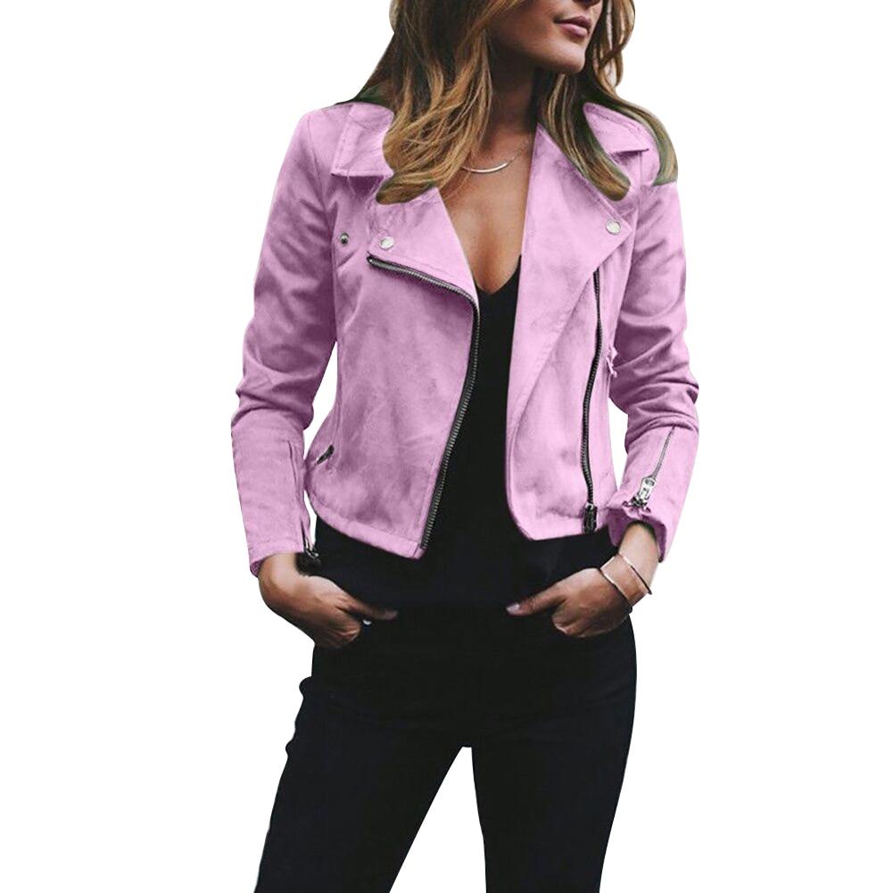 Biker Women Solid Color Suede Zip Up Lapel Short Jacket Slim Fit Flight Coat