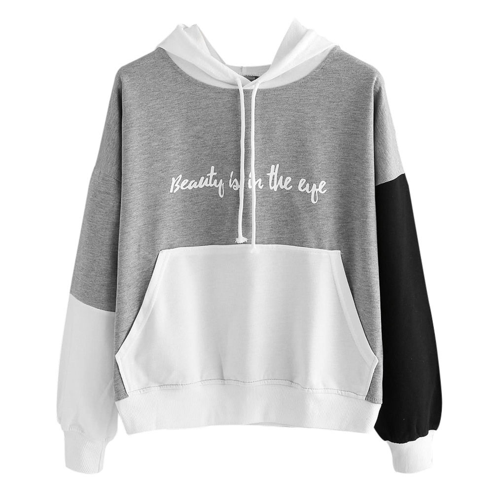 Jaycosin Fashion Casual Letters Pocket Patchwork Long Sleeve Womens Sweatshirts Harajuku Comfortable