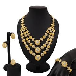 Moda nupcial africano conjunto de jóias bela onda colar brincos anel pulseira feminino conjuntos de jóias de casamento nigeriano