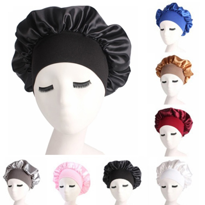 1pc Silk Salon Bonnet Women Sleep Shower Cap Bath Towel Hair Dry Quick Elastic Hair Care Bonnet Head
