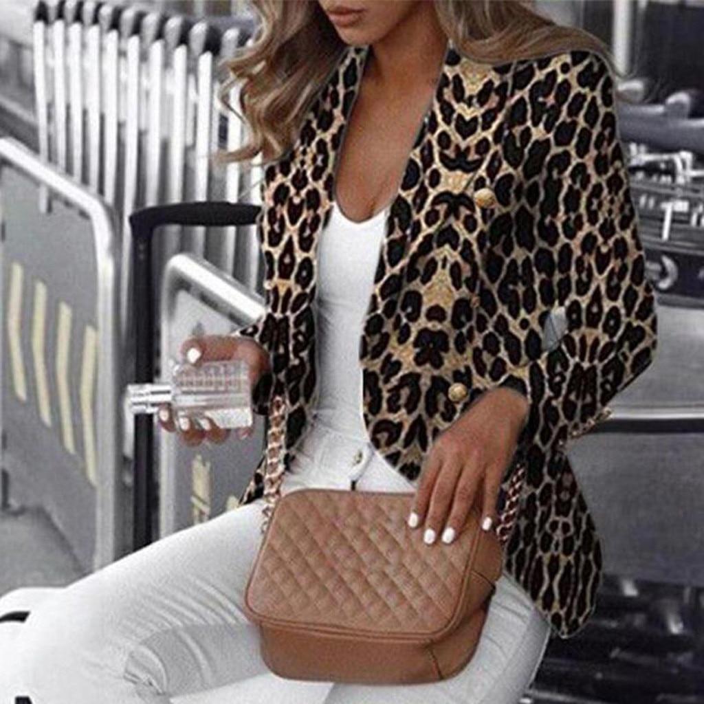 Vintage Stylish Office Lady Leopard Double Breasted Tweed Blazer Coat Women 2019 Fashion Long Sleeve
