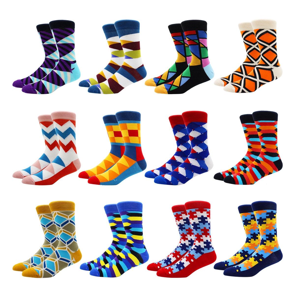 Оптовая продажа, женские Веселые смешные носки с геометрическим рисунком, осенне-зимние мужские носки, Модные Цветные мужские носки в стиле...