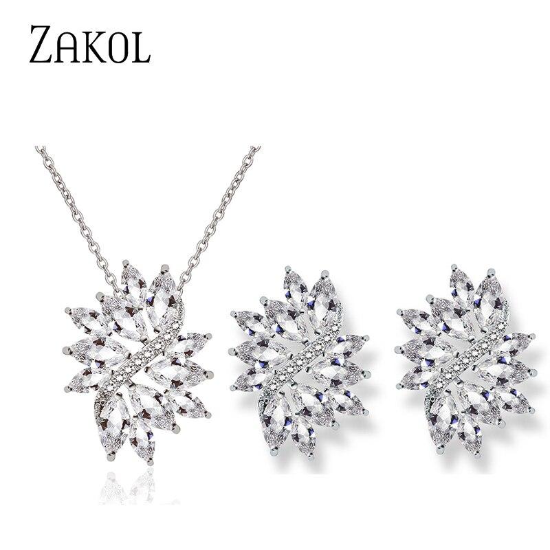 ZAKOL, conjunto de joyas de lujo para boda, novia, conjunto de joyería brillante, disfraz de circonio, pendiente, collar, conjunto FSSP3136