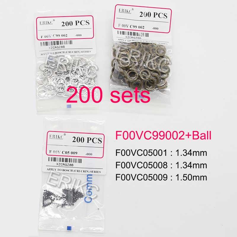 Anillos de sellado F00VC99002, válvula de inyector diésel, Kits de reparación, bola de acero F00VC05001 1,34mm, kit de inyector de combustible para Bosch