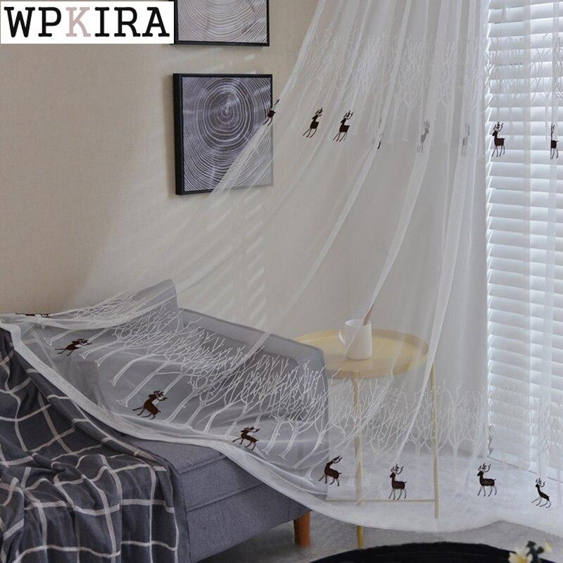 ستارة بيضاء نقية لغرفة المعيشة ، نمط شجرة الغزلان ، ريفي ، تطريز غرفة النوم ، قماش تول فوال S512 # C
