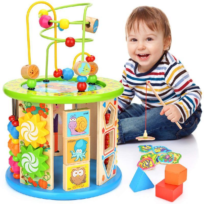 النشاط مكعب لغز لعبة ، 10 في متاهة متعددة الأغراض لعبة التعليم اللون تصنيف لغز الأطفال هدية لعب