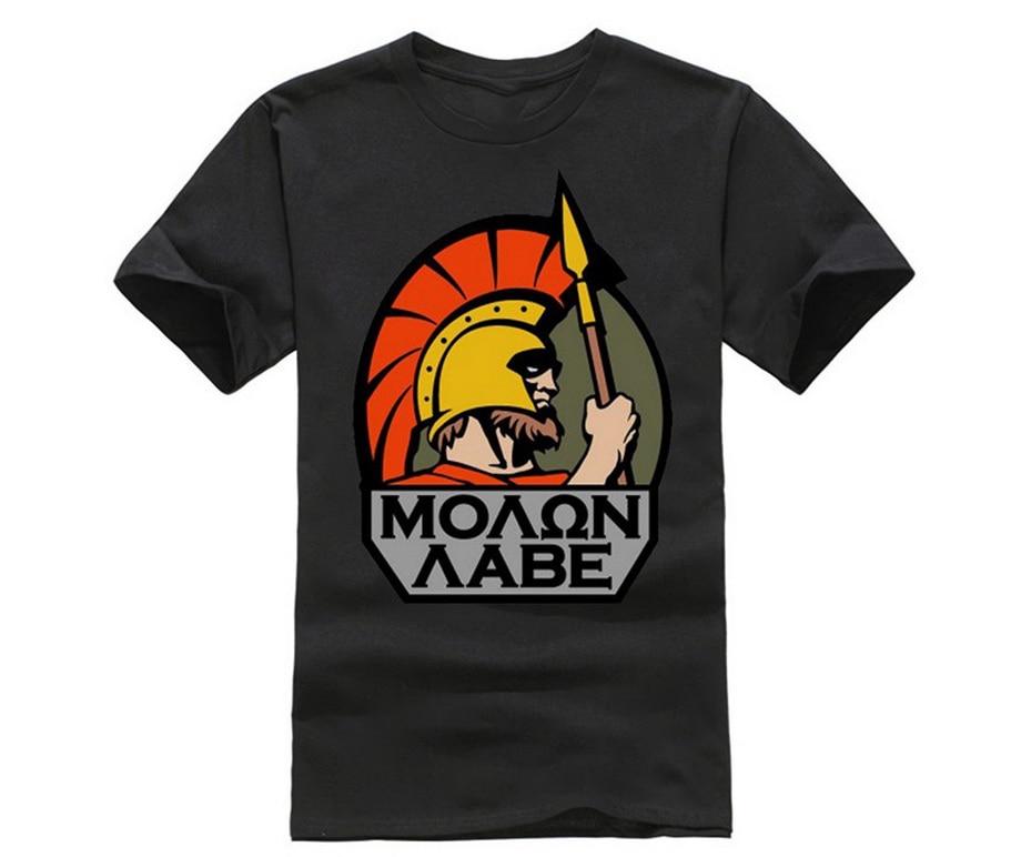 Estilo de verano Cool Spartan Helmet Hombre cuello redondo manga corta Camiseta nueva Moda Hombre Molon Cool camiseta regalo de cumpleaños