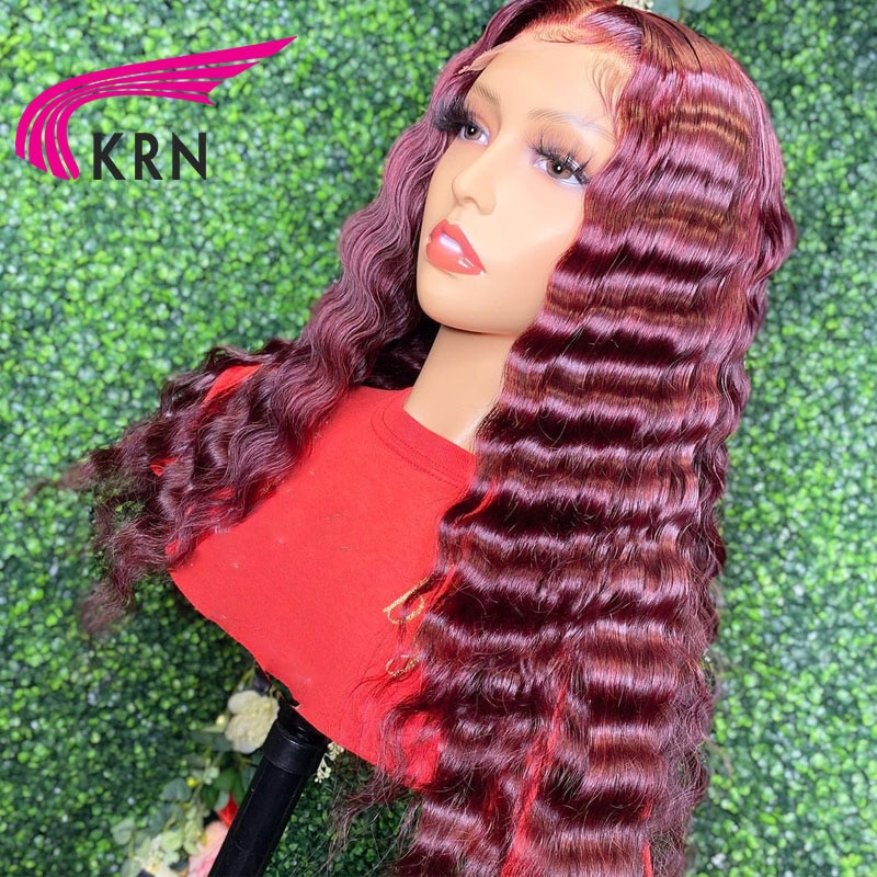 KRN Curly 13x4 Lace Front Wigs For Women Hair Wigs 99J Red Burgundy 180% Density Remy Brazilian Huma