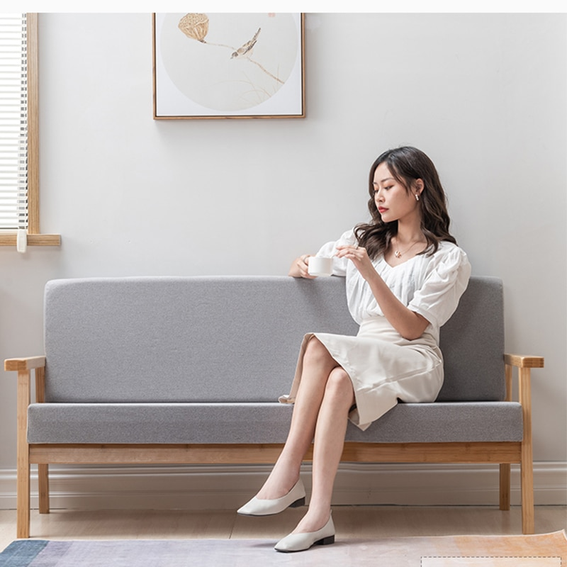 أريكة قماش 1 + 2 + 3 مزيج غرفة المعيشة بسيطة الحديثة عائلة صغيرة ثلاثة أشخاص خشب متين أريكة الإطار
