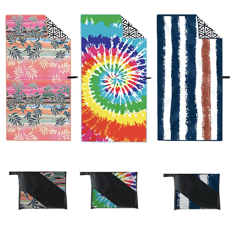Beach Towel Quick Drying Beach Bath Towel Microfiber Double-Sided Printing  Soft  Camping Comfortable Hiking Swimming 3 Style