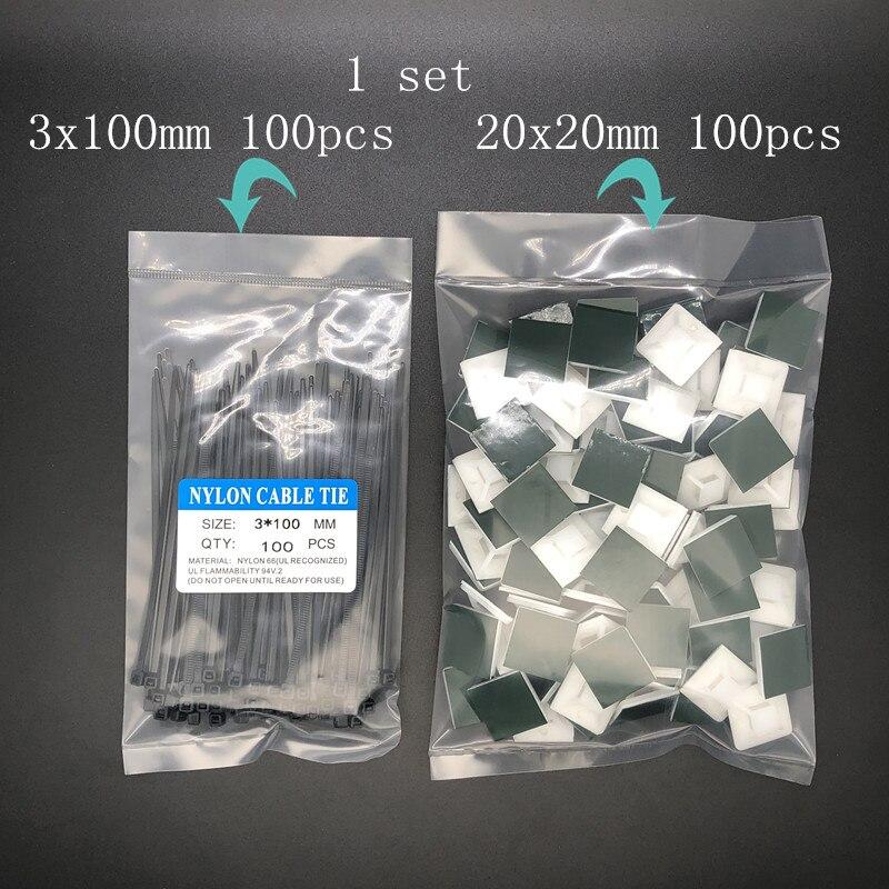 Sujetacables de nailon y 100 Uds. Tipo Adhesivo, pieza de colocación, Copas de succión de pieza fija, 100 Uds. Originales/genuinas 100 Uds.