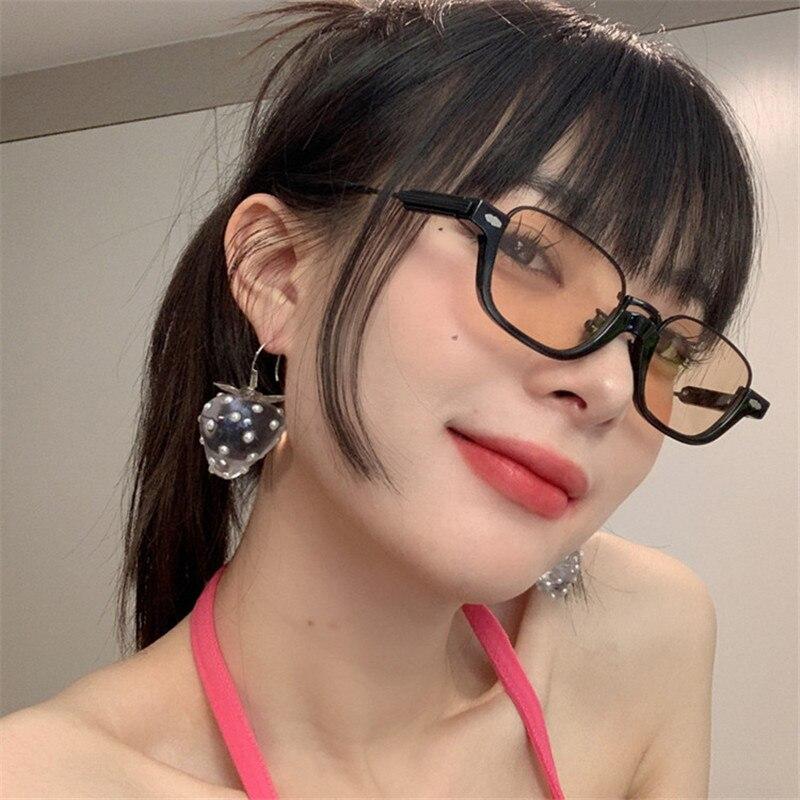 2021 شبه بدون شفة النظارات الشمسية النساء النظارات البيضاوي ظلال الإناث نظارات شمسية نظارات Gafas دي سول