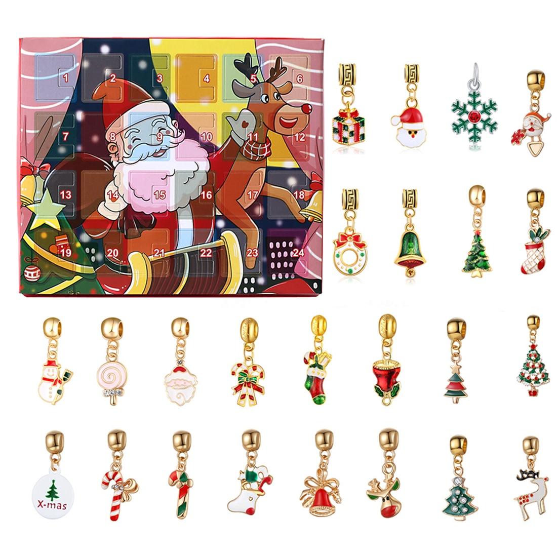 Christmas Calendar Gift Box DIY Merry Christmas Advent Calendar Pendants with 24 Small Accessories No Bracelet Necklace