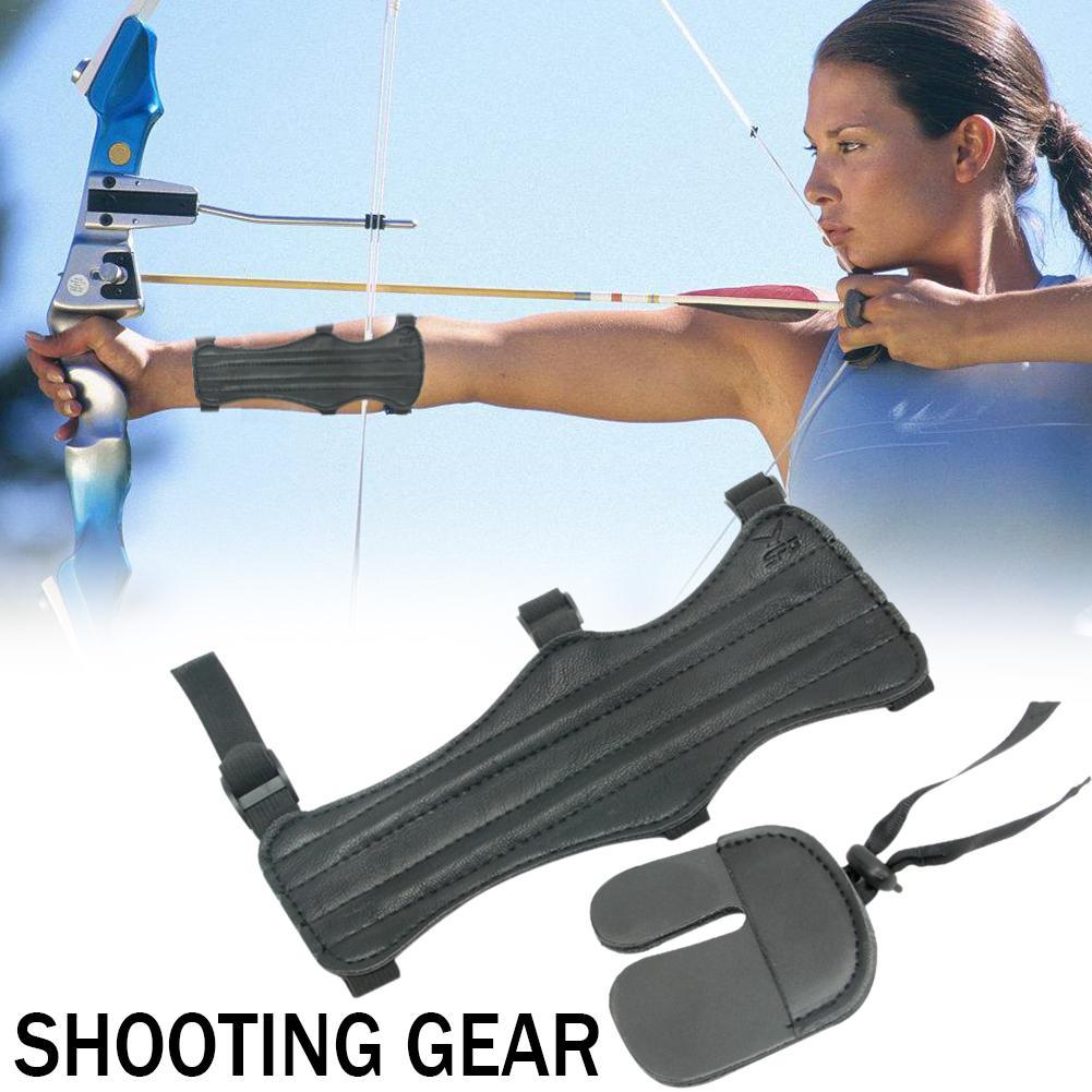 Защита для стрельбы из лука, комплект для защиты пальцев, защитное снаряжение для стрельбы на открытом воздухе, защитное снаряжение, кожано...