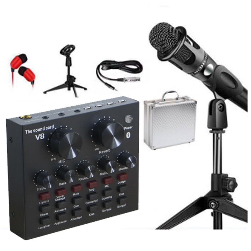 Microphone Kit Studio Live Stream Broadcasting Recording Condenser Sound Card Set Bluetooth  for Computer Pc Mobile Phone Sing enlarge