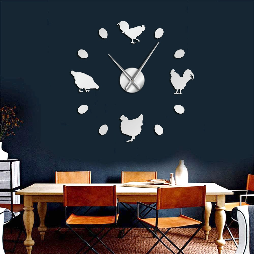 Reloj de pared grande DIY con huevos frescos de granja, pollo en la granja, decoración rústica para pared, reloj de pared de cocina, pegatinas de espejo