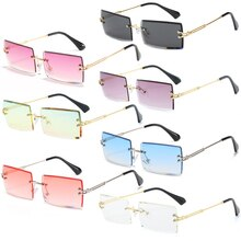 1PC Traveling Style Rimless Mountaineering Sunglasses Trendy Small Rectangle Sun Glasses UV400 Shade