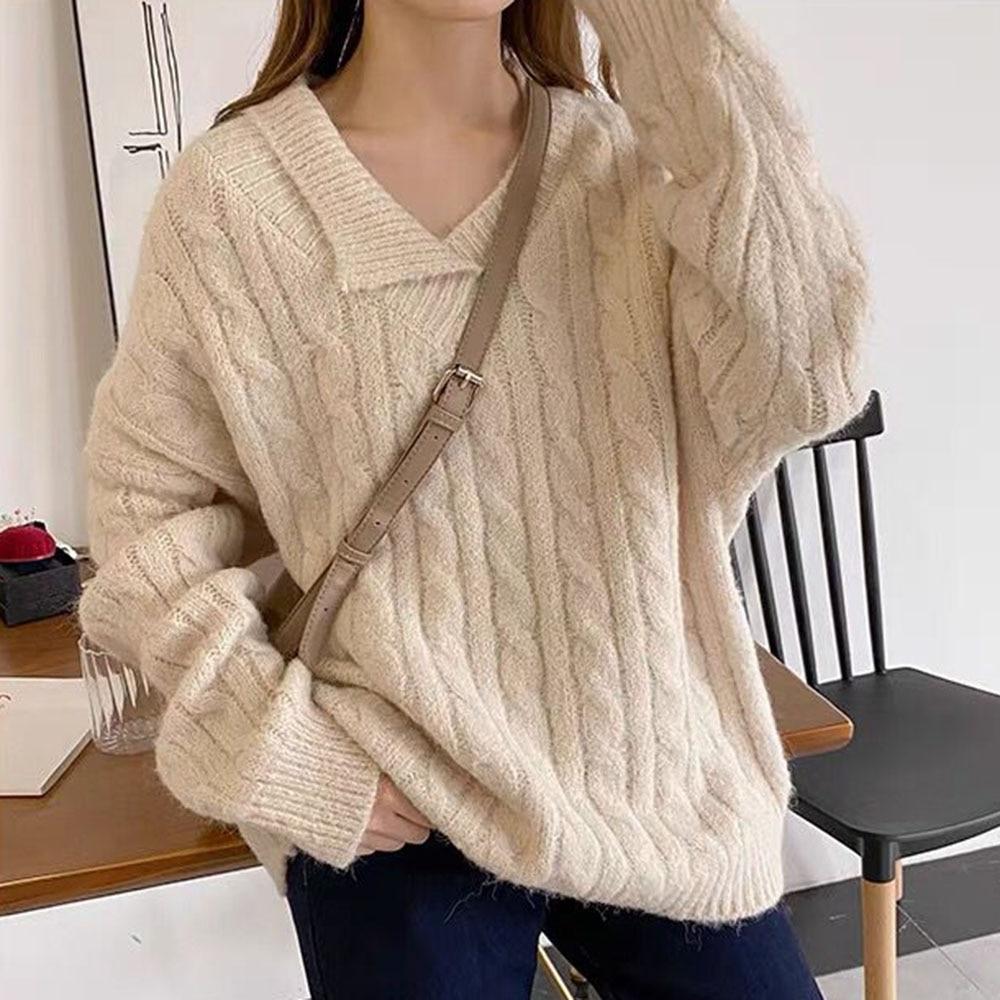 Swetry damskie i swetry jesień kołnierz na dół średniej długości luźny gładki dzianinowy Top koreański moda damska zimowe ubrania
