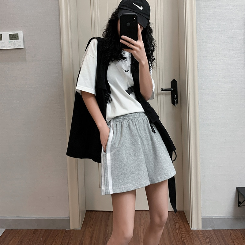 2021 Summer Side Striped Letter Loose Shorts Ladies Harajuku Pure Cotton High Waist Elastic Band Wide Leg Casual Mini