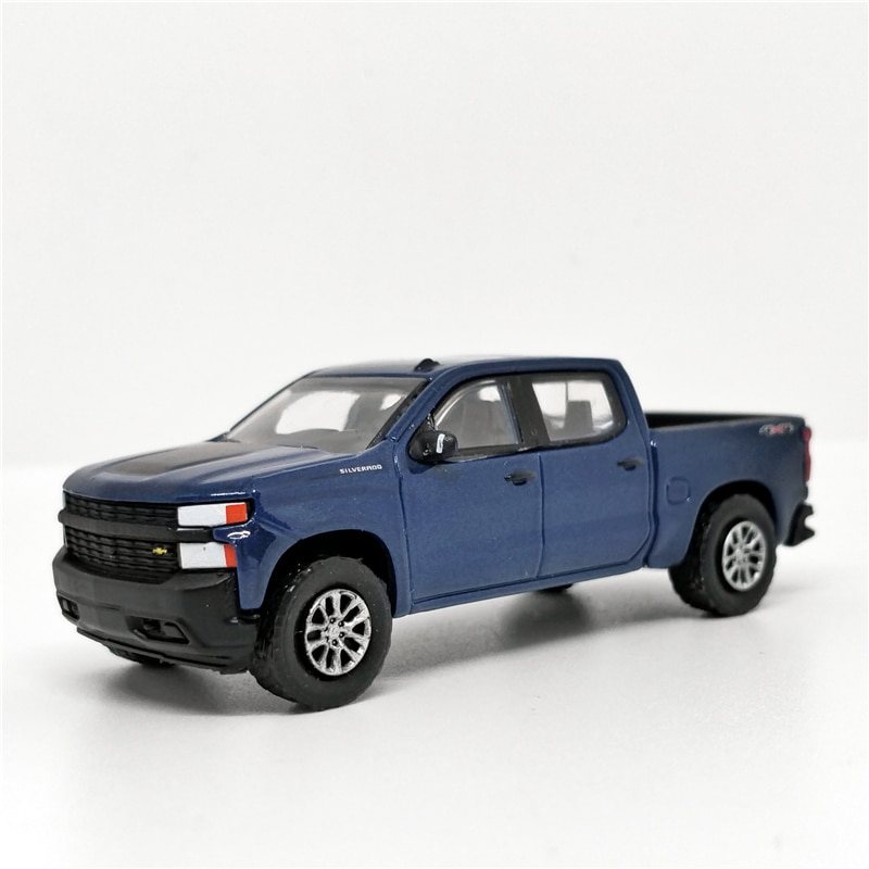 Greenlight 164 2019 Chevrolet Silverado 4x4 azul oscuro sin caja