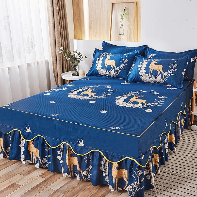 موضة الأزهار المفرش نحى الرملي تنورة نوم الملك الملكة حجم لينة مريحة طبقة مزدوجة غطاء السرير
