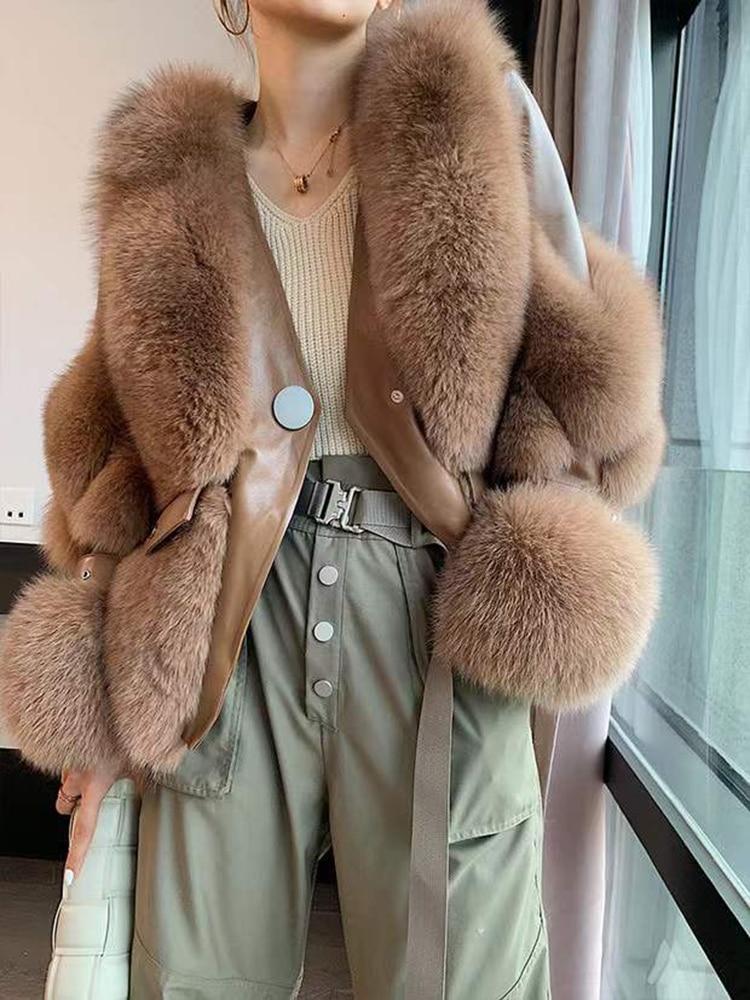 2021 Winter Women Real Fox Fur Coat with Genuine Sheepskin Leather Jacket Long Sleeves 100% Natural Fox Fur Fashion Short Coats