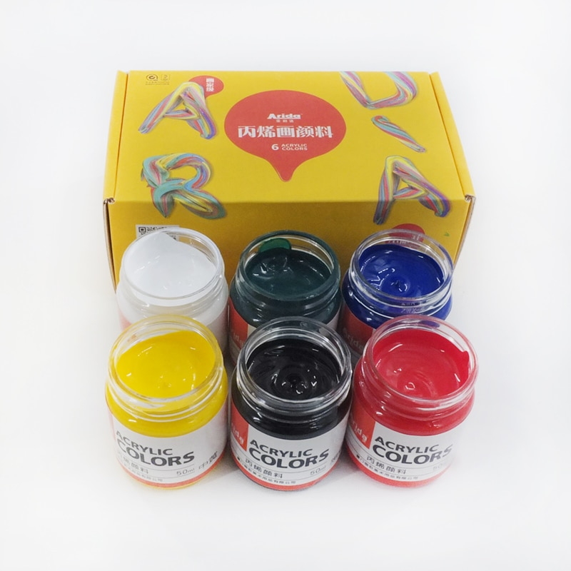 Фото - Профессиональная акриловая краска, 6 цветов, 50 мл, одна бутылка, краска для рисования, пигмент, ручная краска, настенная краска для художника ... краска