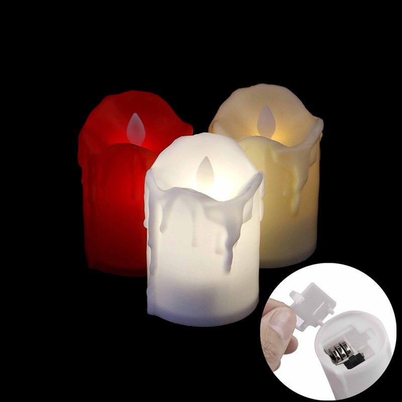 Vela LED alimentada por batería, lámpara Multicolor de simulación de Color, luz pequeña e intermitente con forma de llama, decoración de hogar, boda, fiesta de cumpleaños