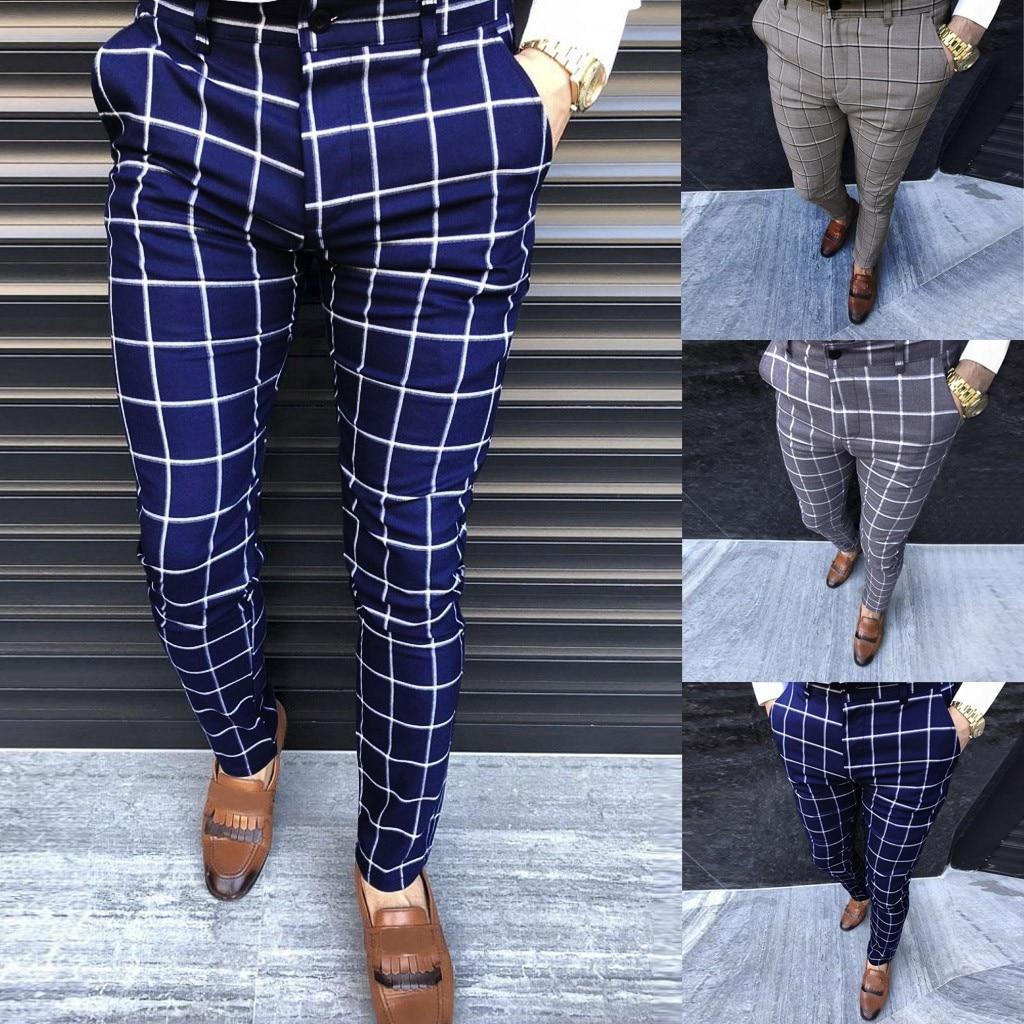 Men Casual Pants Fashion Cotton Midweight men's Pants Slim Fit Business Formal Plaid Print Trousers Male Leisure Pants