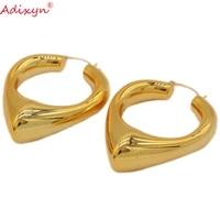 adixyn european style gold color plated hoops earrings for ladies women hanksgiving gifts n031916
