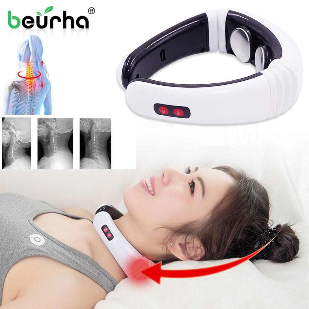 Masajeador eléctrico de pulso de espalda y cuello calefacción infrarroja lejana alivio del dolor herramienta de relajación de cuidado de la salud masaje Cervical inteligente