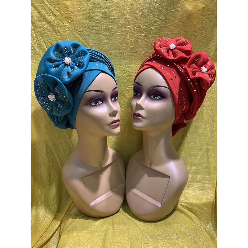 أحدث أنيقة عمامة القبعات النساء سدادة على شكل زهرة مطرز الأحجار للهند قبعة رئيس التفاف جاهزة عقال فتاة إكسسوارات الشعر سيدة
