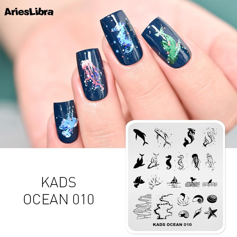Rolabling serie con diseño marino placas de estampado de uñas Placa de estampado para manicura plantilla para plantillas para uñas Placa de pulido herramientas de sello