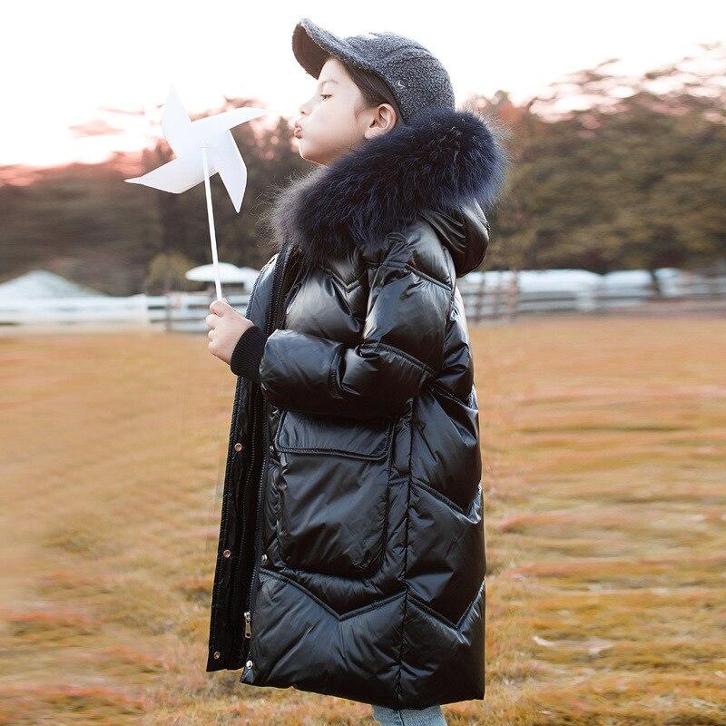 8 10 سنوات الفتيات الشتاء أسفل جاكيتات الأبيض الفراء طوق لامعة الأزياء طويلة ستر ل في سن المراهقة الفتيات 2021 جديد