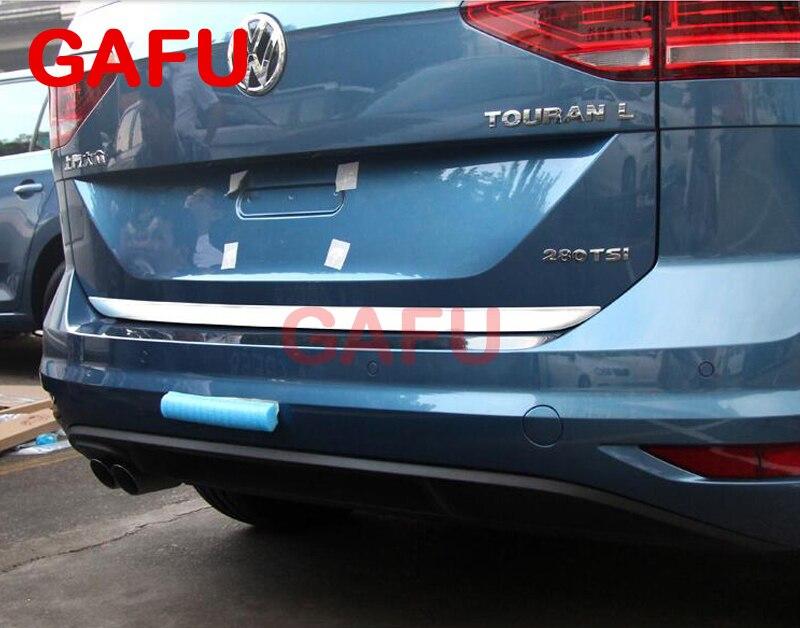 Pegatina para VW TOURAN 2016 2017, puerta trasera de acero inoxidable, embellecedor de puerta trasera, 1 Uds