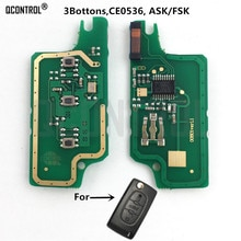 QCONTROL-Circuit imprimé de clés   Pour Peugeot 207 208 307 308 408 CE0536 Signal FSK 3 boutons