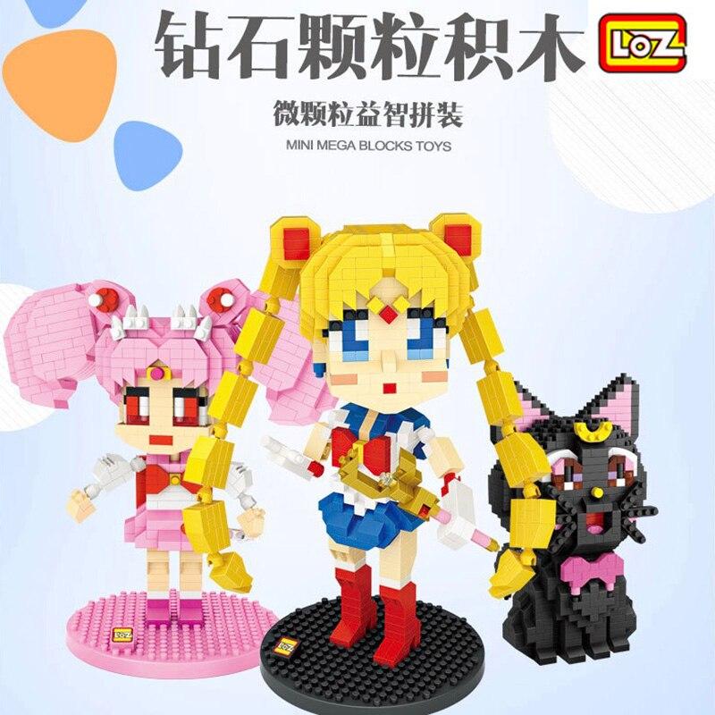 Loz super herói diamante mini bloco de plástico bonito gato blocos de construção brinquedos tijolos educativos anime figuras de ação brinquedo para crianças