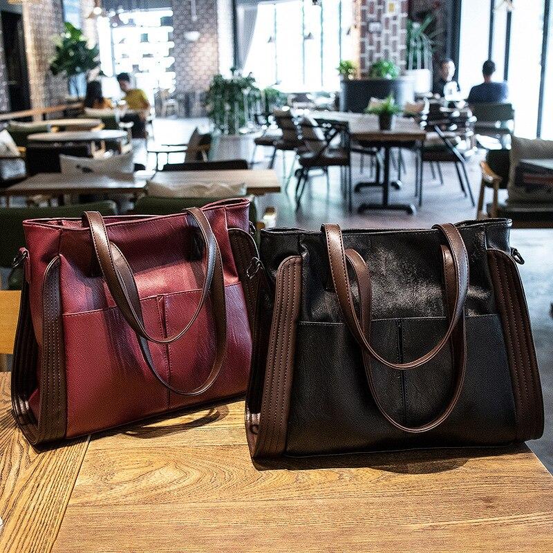Retro High Capacity PU Leather Shoulder Bags for Women 2021 Elegant Handbags Female Travel Totes Lady Fashion Bag A143