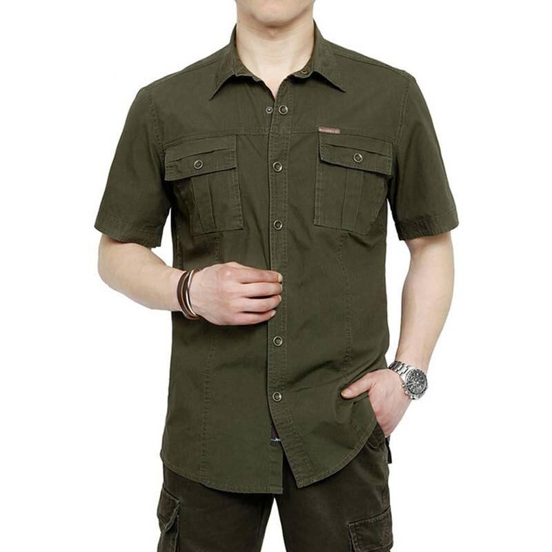 Camisa de marca para hombre 2018, camisas de algodón de manga corta con cuello doblado para hombre de talla grande 5XL Chemise Masculino