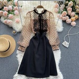 Elegant dress 2021 new ear collar wave dot mesh bubble sleeve waist slim A-line dress