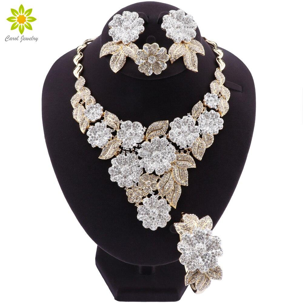 Nigeriano Boda nupcial africano Color oro flor en forma de joyería Set Dubai cristal collar pulsera pendientes anillo Conjunto para las mujeres