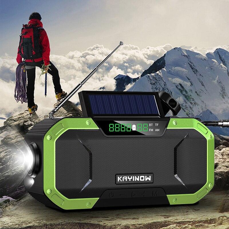 Portable Bluetooth Wireless Speaker Waterproof Solar Hand Crank FM Radio 5000mAh Power Bank Charger Flash Light HD HiFi Speakers