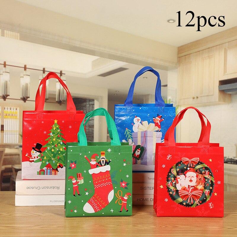 Мультяшные рождественские Печатные Упаковочные сумки, милые нетканые Упаковочные сумки, складной чехол для путешествий, нетканый телефон