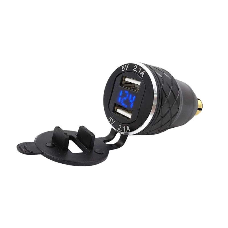 Adaptador Dual 5V 2.1A Din a Usb, Cargador Usb de aleación de aluminio para motocicleta europea, enchufe Din, voltímetro de salida de alimentación para Bmw Mo