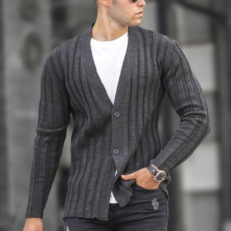 2021 Autumn Winter Fashion For Men Knitted Sweater Tops Slim Solid Buttons Cardigan Sweaters Men's New Casual Long Sleeve