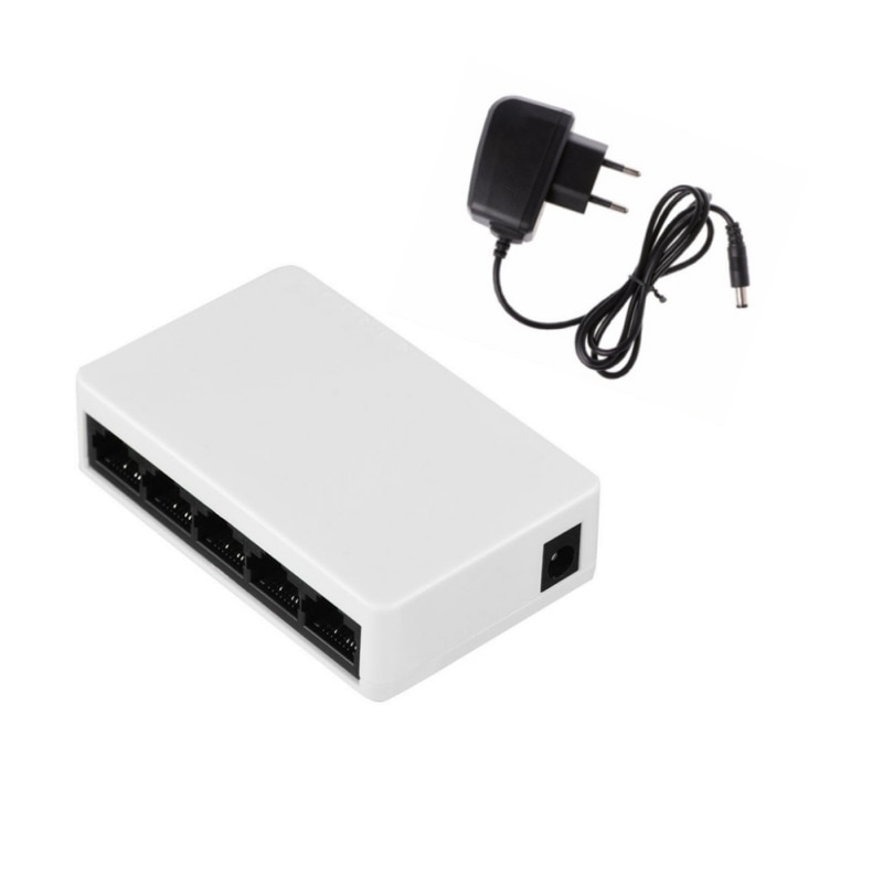 Mini Interruptor de Rede Porta 5 10/100Mbps Fast Ethernet Switch Desktop Hub LAN/Cheio ou Meio duplex de Troca, UE/EUA/UK Plug