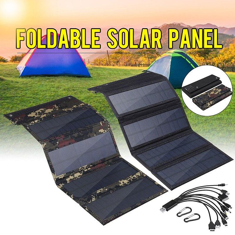 لوحة شمسية قابلة للطي شاحن 50 واط 5 فولت USB 10 in1 كابل يو اس بي مقاوم للماء الشمس الطاقة الخلايا الشمسية للهاتف على ظهره التخييم التنزه