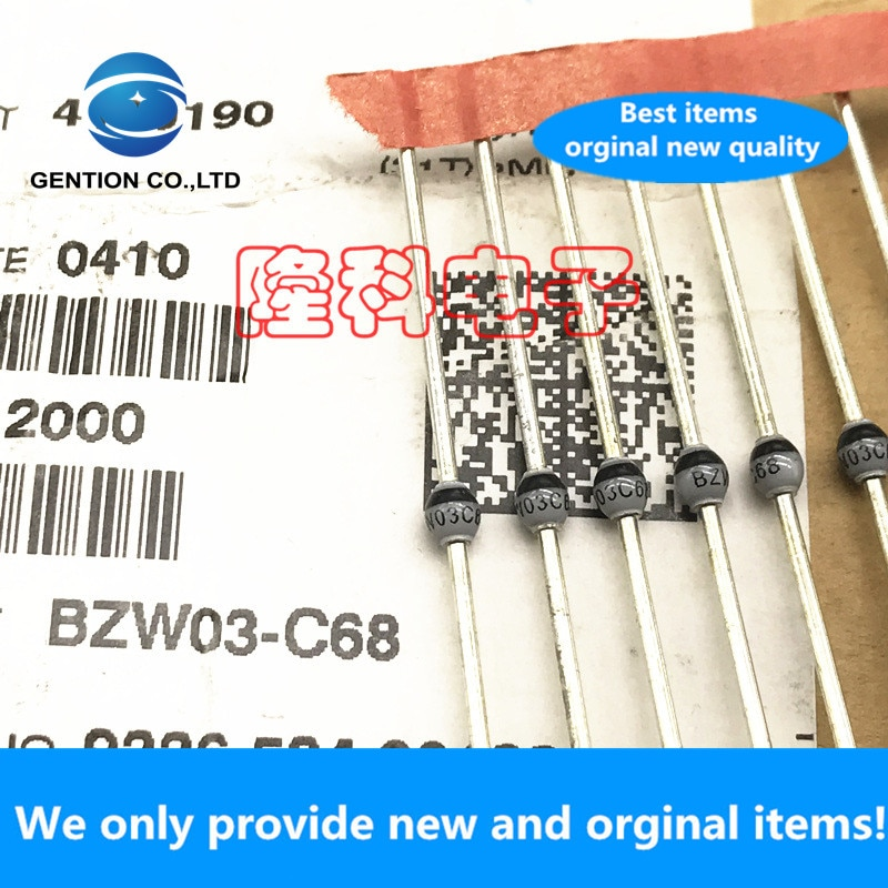 10 pces 100% original novo BZW03-C68 68v vidro passivation 6w regulador tubo sod-64 bzw03c68