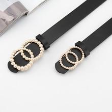 Czarny skórzany pasek panie paski dla kobiet G cinturon mujer luksusowej marki pearl ceinture femme 2020 pas jeans cintos