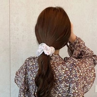 new chiffon scrunchies floral print hair ring rubber band elastic hair bands rope ties girl fashion new hot hair accessories